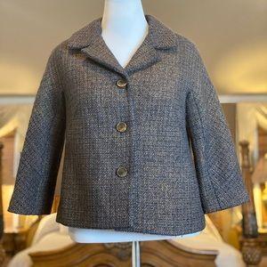 Talbots Brown & Gold Metallic Tweed Blazer Sz 10